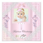 Baptism Pink Cross Girl Photo christening Lace 2 13 Cm X 13 Cm Square Invitation Card