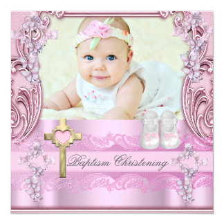 Baptism Pink Cross Girl Photo Christening Shoes 13 Cm X 13 Cm Square Invitation Card