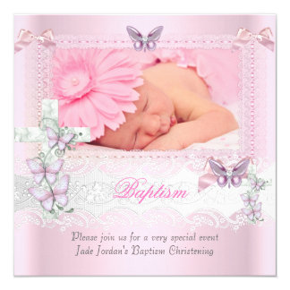 Baptism Pink Lace Photo Butterfly Cross Girl 13 Cm X 13 Cm Square Invitation Card