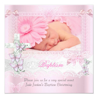 Baptism Pink Lace Photo Butterfly Cross Girl 2 13 Cm X 13 Cm Square Invitation Card