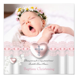 Baptism Pink Silver Photo Heart Cross Girl Card