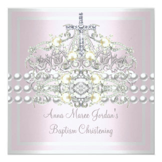 Baptism Pink Tiara Silver White Pearl Diamond 13 Cm X 13 Cm Square Invitation Card