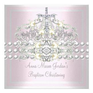 Baptism Pink Tiara Silver White Pearl Diamond Invites