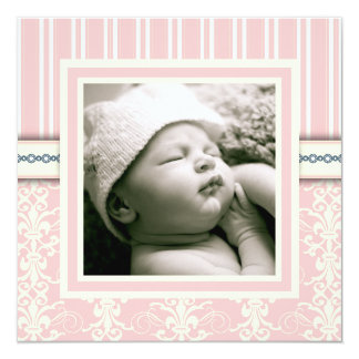 Baptism Pink Vintage Damask Photo Invitation