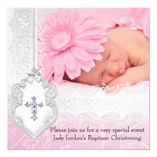 Baptism Pink White Lace Photo Jewel Cross Girl 13 Cm X 13 Cm Square Invitation Card