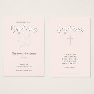 Baptism Rosary on Pink Business Card