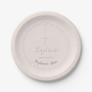 Baptism Rosary on Pink Paper Plate