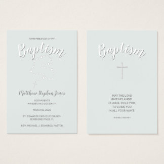 Baptism Rosary on Powdered Blue Business Card