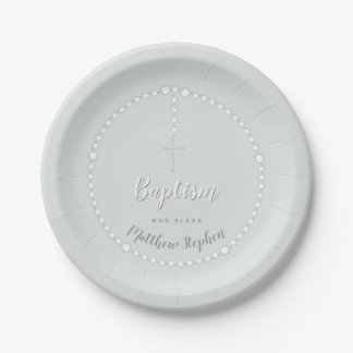 Baptism Rosary on Powdered Blue Paper Plate