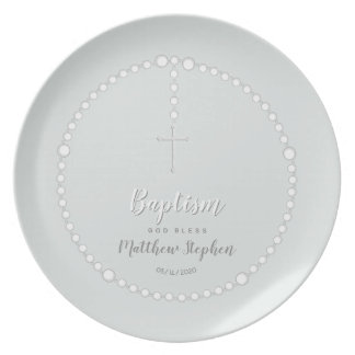 Baptism Rosary on Powdered Blue Plate