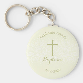 Baptism Sage Delicate Floral Lace Basic Round Button Key Ring