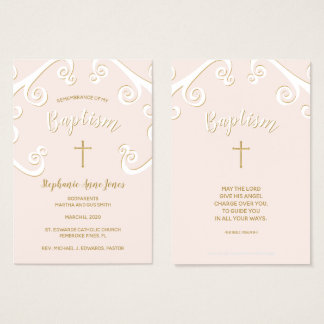 Baptism Scrolls in Pink and Gold Business Card
