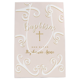 Baptism Scrolls in Pink and Gold Medium Gift Bag