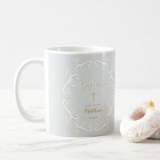 Baptism Scrolls in Powder Blue and Gold Coffee Mug