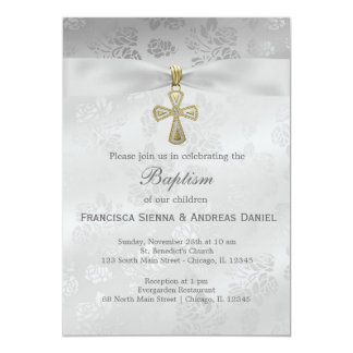 Baptism Silver Roses 13 Cm X 18 Cm Invitation Card
