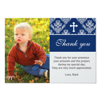 Baptism Thank You Note Custom Photo Card Navy Blue