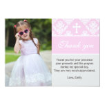 Baptism Thank You Note Custom Photo Card Pink 13 Cm X 18 Cm Invitation Card