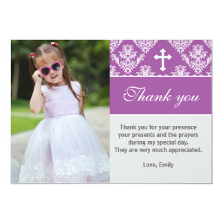 Baptism Thank You Note Custom Photo Card Purple
