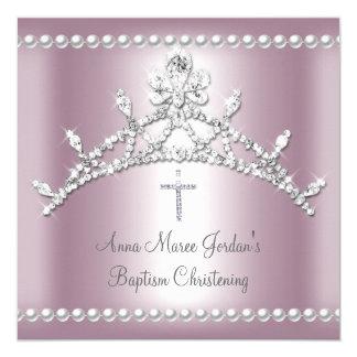 Baptism Tiara Pink Silver White Pearl Diamond 13 Cm X 13 Cm Square Invitation Card