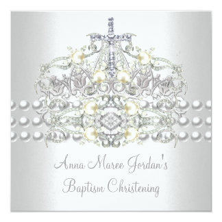Baptism Tiara Silver White Pearl Diamond 13 Cm X 13 Cm Square Invitation Card