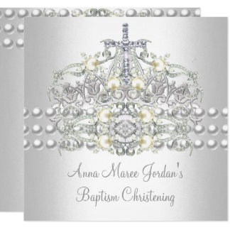 Baptism Tiara Silver White Pearl Diamond Card