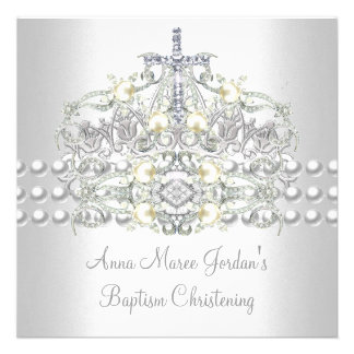 Baptism Tiara Silver White Pearl Diamond Announcements