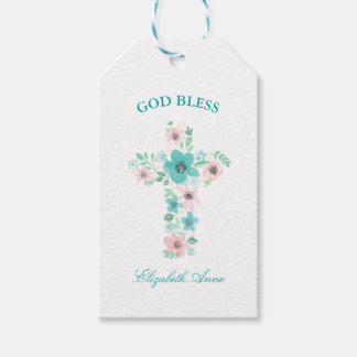 Baptism Watercolor Pink and Teal Flower Cross Gift Tags