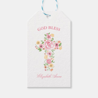 Baptism Watercolor Pink and Yellow Flower Cross Gift Tags