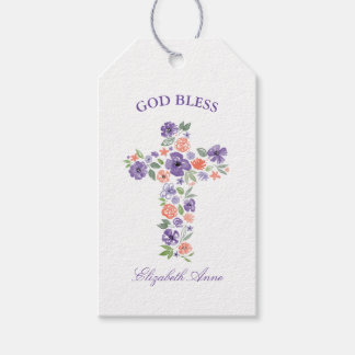 Baptism Watercolor Purple and Coral Flower Cross Gift Tags