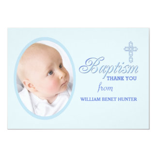 Baptism Word Blue Photo Thank You Notecard 13 Cm X 18 Cm Invitation Card