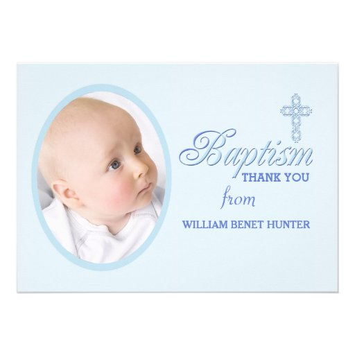Baptism Word Blue Photo Thank You Notecard Personalized Announcements