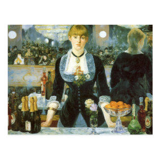 Bar at the Folies Bergere by Manet, Vintage Art Postcard