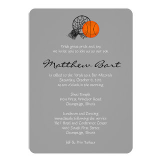 Bar Bat Mitzvah Invitation Basketball Theme