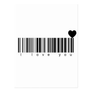 Bar Code I Love You Postcard