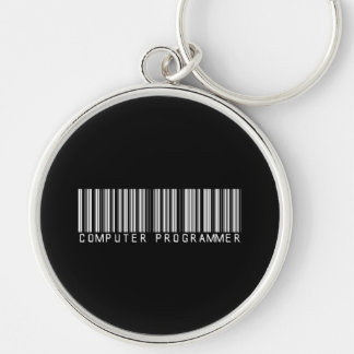 BAR COMPUTER PROGRAMMER DARK Silver-Colored ROUND KEY RING