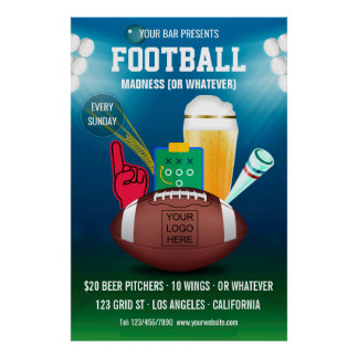 Bar Football Event Promotional add logo Poster