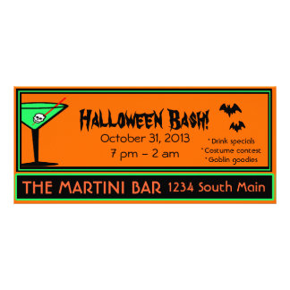 Bar Halloween Party Advertisement Full Colour Rack Card