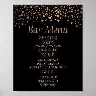 Bar Menu for A Wedding Gold Foil Dots Poster