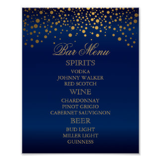Bar Menu - Gold Confetti Dots on Navy Blue Poster