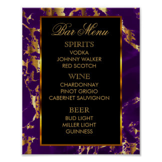 Bar Menu -  Purple and Gold Marble and Black Poster
