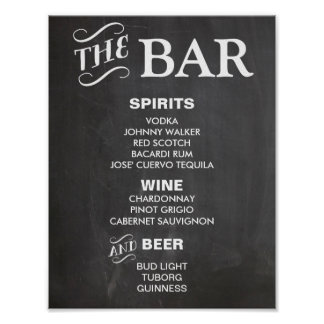 BAR MENU sign for wedding and party reception