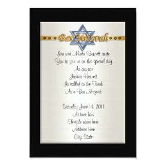Bar Mitvah invitation formal blue Star of David