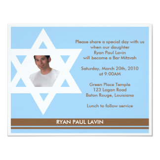 Bar Mitzvah 11 Cm X 14 Cm Invitation Card