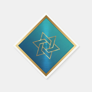 Bar Mitzvah/Bat Mitzvah Star of David Blue Gold Paper Serviettes