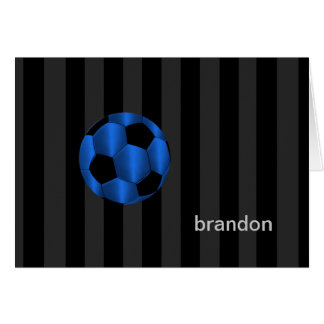 Bar Mitzvah Blue and Black Soccer Ball Card