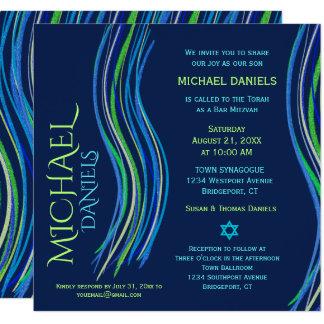 Bar Mitzvah Blue and Green Prayer Shawl Invitation