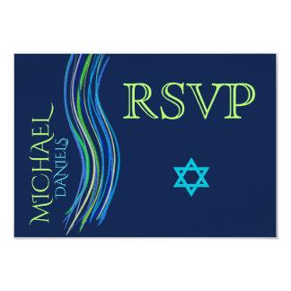 Bar Mitzvah Blue and Green Prayer Shawl RSVP Card