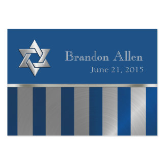 Bar Mitzvah Blue and Silver Stripe Star of David Business Card