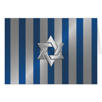 Bar Mitzvah Blue and Silver Stripe Star of David Card