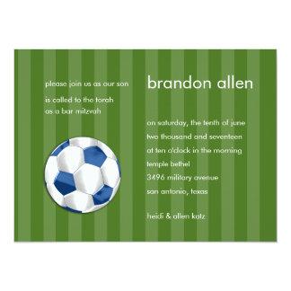Bar Mitzvah Blue and White Soccer Ball 14 Cm X 19 Cm Invitation Card